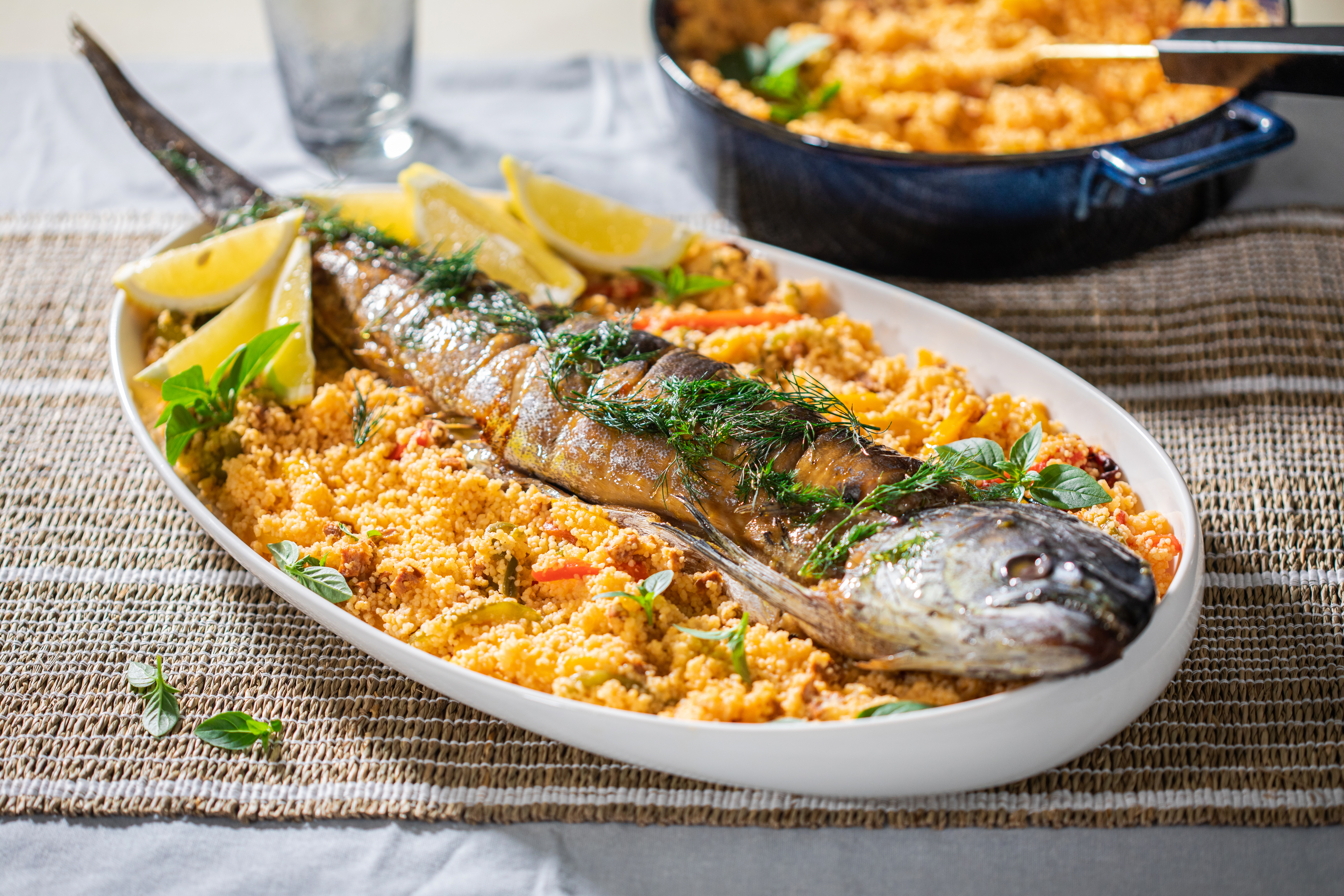 Lorna's Whole Fish Stuffed with Couscous, Chorizo & Peppers