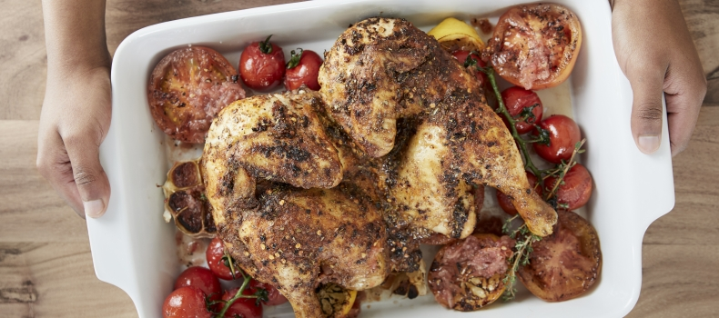 PERI-PERI ROASTED CHICKEN WITH ROASTED GARLIC AND SUMMER TOMATOES