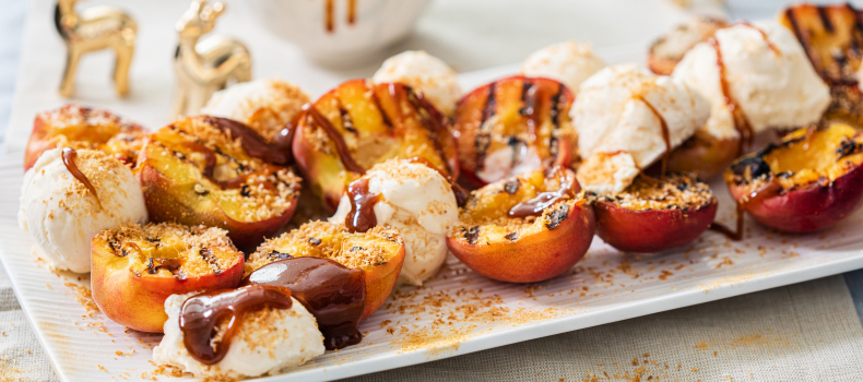 LORNA'S CHARRED PEACHES WITH ICE CREAM & SALTED CARAMEL