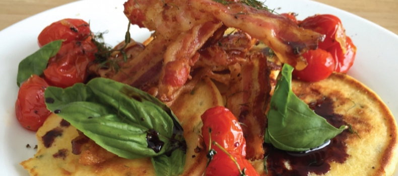 BASIL RICOTTA FLAP JACKS WITH BACON AND CHERRY TOMATOES