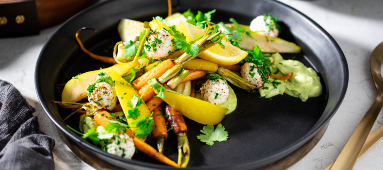 ROASTED CARROT, FENNEL AND PARSNIP SALAD WITH GOAT'S CHEESE BALLS & POACHED PEAR.
